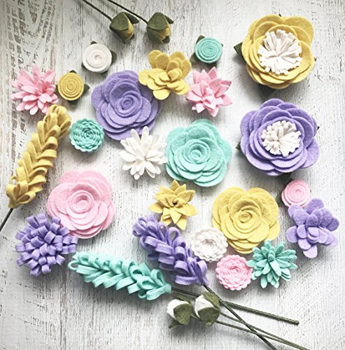 Wool Felt Fabric Flowers - Flower Embellishment - Spring - Large Posies - 28 Flowers & 20 leaves - Create Headbands, DIY Wreaths, - Collection Embellishments Fabric