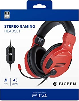 Playstation 4 - Auriculares para Videojuegos con Licencia Oficial PS4 roja: Amazon.es: Electrónica
