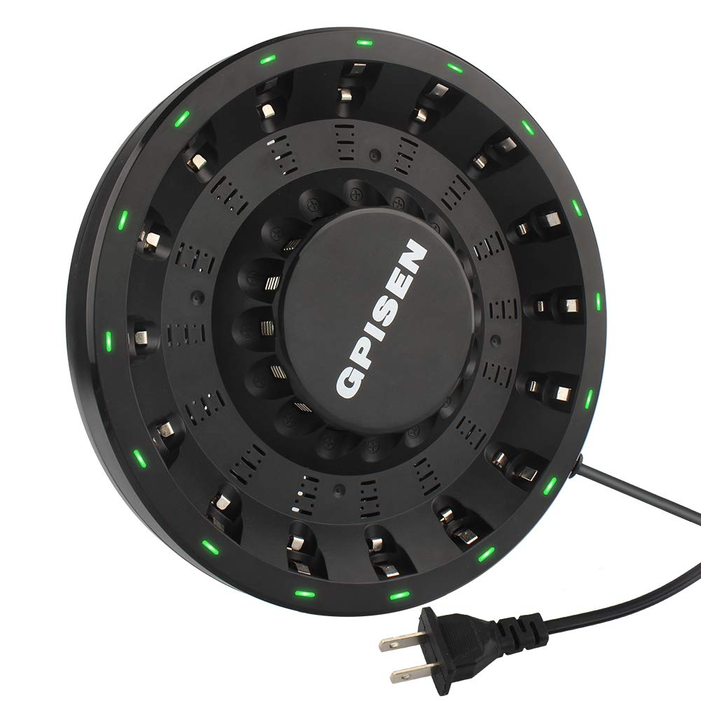 NI-MH//Ni-CD GPISEN 16 Bay Smart Round Charger with LED for AA//AAA
