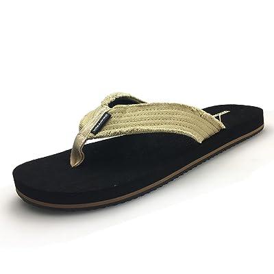 URBANFIND Men's Flip Flops Canvas Thong Sandals Flat Slide On TPR Non Slip Slippers   Sandals