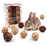 JanYoo 12 Pcs Rabbit Chew Toys Rat Activity Ball Guinea Pig Play Toys for Bunny Teeth Natural Bell Balls