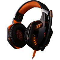 SENHAI G2000 Auriculares Gaming para PS4, PC, Xbox One Controller, Auriculares con micrófono que cancela el ruido sobre el oído, luz LED, auriculares envolventes bajos- Negro + Naranja