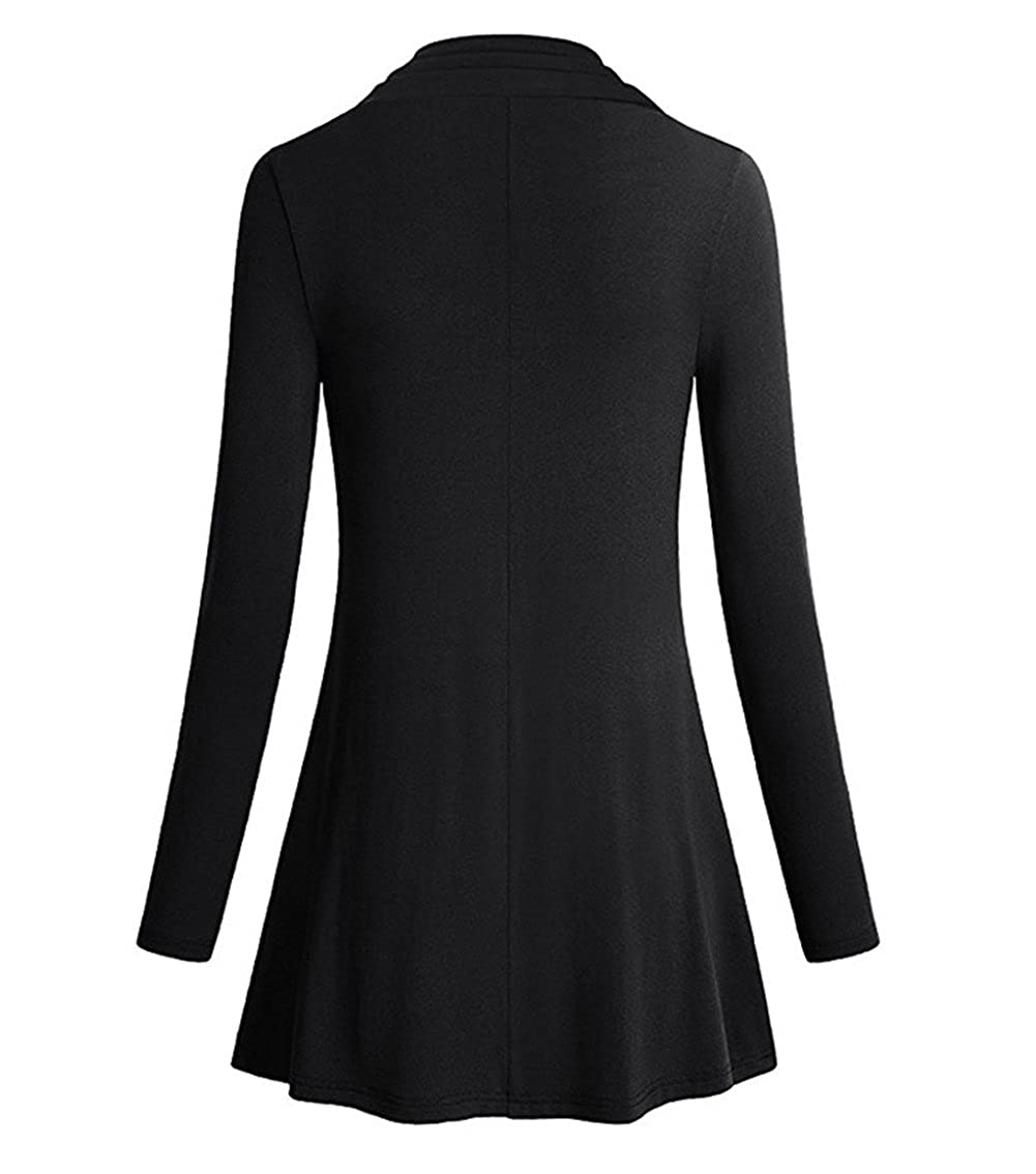 XinDao Womens Petite Long Sleeve Cowl Neck Form Fitting Casual Tunic Top Blouse