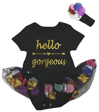 3c64b1df0 Amazon.com  Petitebella Hello Gorgeous Black Bodysuit Petals Flowers ...