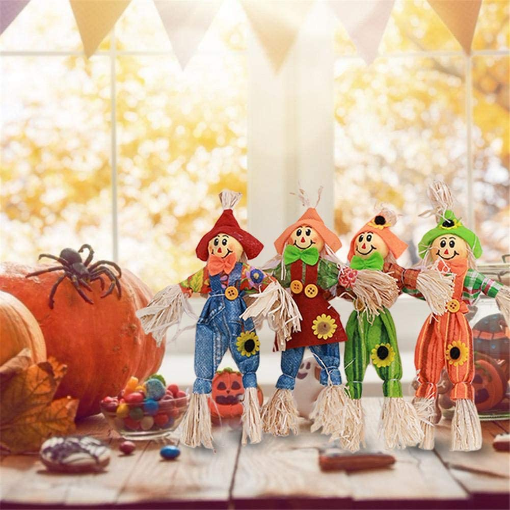 Standing Scarecrow 丨4 Pack Mini Thanksgiving Scarecrow 丨Picks Fall Stake Decorations丨 for Autumn Home Centerpiece Pilgrim Harvest Figurines Table Topper and DIY Craft Party Accessories Random