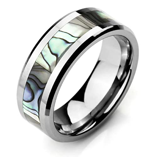 bague homme tungstene abalone