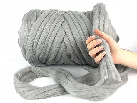Ovillo gigante de hilo de lana gruesa, súper suave; lana cardada de gran volumen