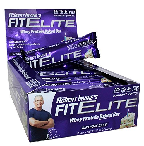 Fit Elite Whey Protein Baked Birthday Cake Bars 12 Count 2544 Oz