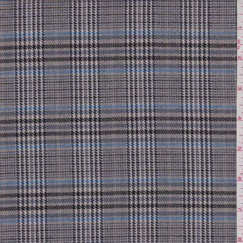 (Sterling/Black Plaid Wool Flannel, Fabric by The Yard)