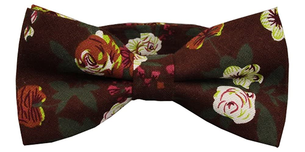 D/&L Menswear Mens Pre-Tied Burgundy Floral Bow Tie Wedding Party Adjustable Bowtie