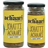 The Achaari Khatti Achaari Black Pepper, 100% No Oil & No Preservative, Homemade Mango Pickle, Combo Pack (400 Grams + 250 Grams)