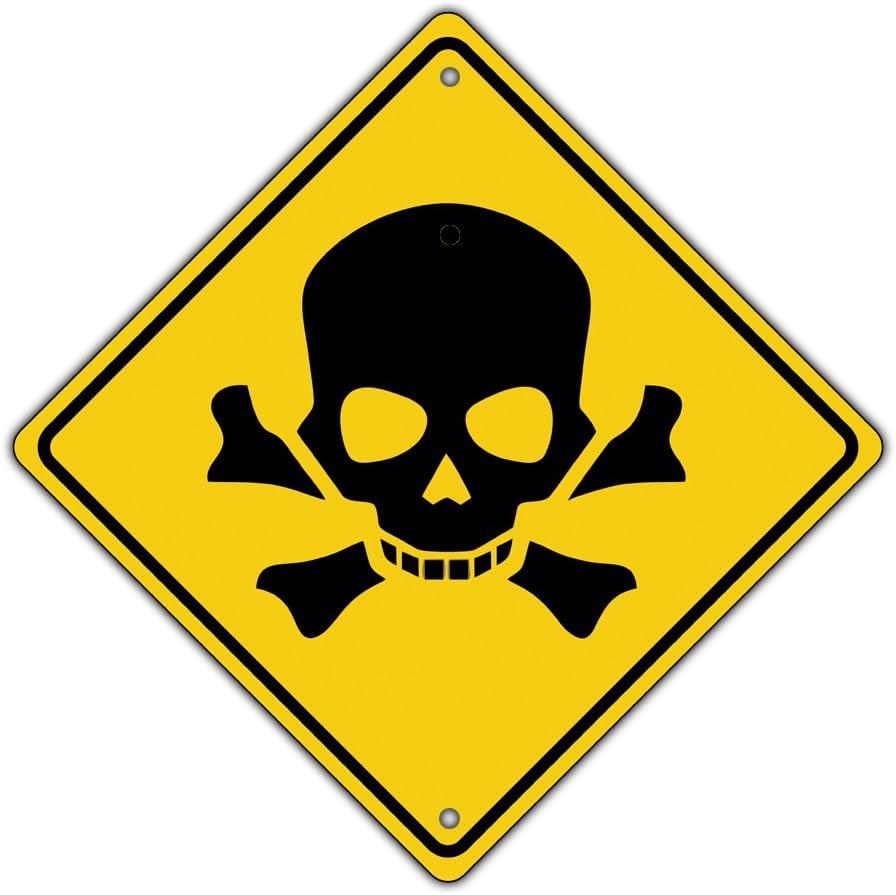 Afterprints Danger Hazardous Toxic Waste Skull Bones Symbol Metal Aluminum  Sign 12x12: Amazon.co.uk: Garden & Outdoors