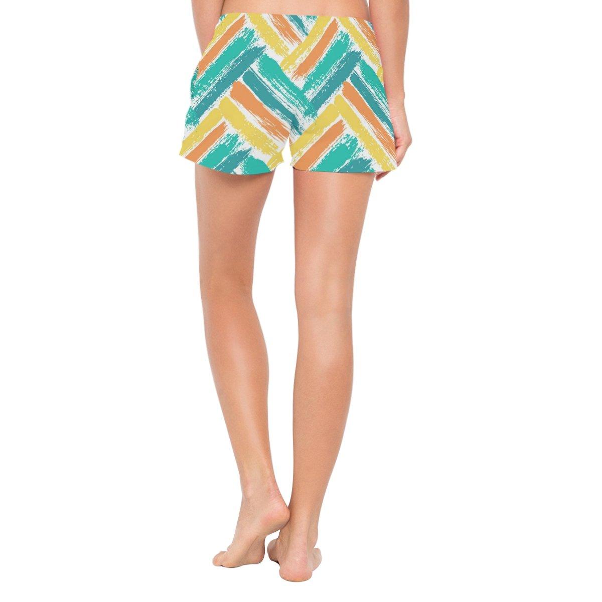 Cooper girl ALAZA Watercolor Chevron Womens Shorts Beach Summer Drawstring Casual Shorts