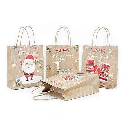 mdxmai Papel de Regalo Bolsas de Papel Kraft de Navidad del ...