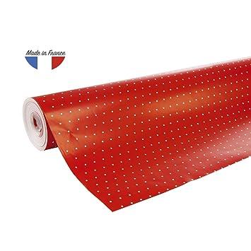 Clairefontaine 201402c Une Bobine Papier Cadeau Alliance 50mx0m70 60g Pois Fond Rouge