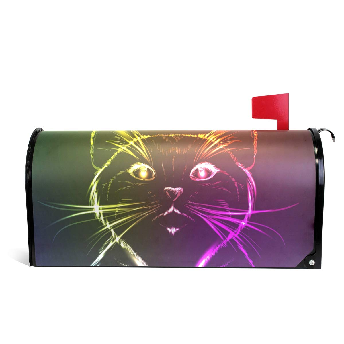 senya Magnetic Large Size Mailbox Cover Seamless Cats Sketch Cute in Neon Light, Oversized by senya
