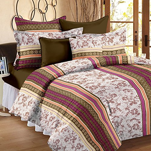 Story@Home 186 TC 100% Cotton Multicolor 1 Double Bedsheet With 2 Pillow Cover