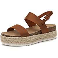 bf8e4b03655c Athlefit Women's Platform Sandals Espadrille Wedge Ankle Strap Studded Open  Toe Sandals