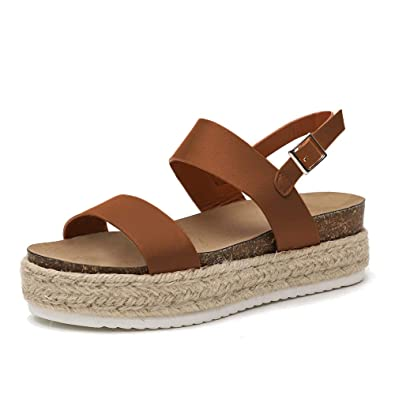 e3453d0fb Athlefit Women's Summer Espadrille Flatform Sandals Band Open Toe Cork  Wedge Sandals Size 5.5 Brown