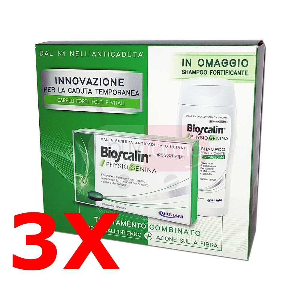 Offerta Bioscalin Physiogenina - 3X Integratore da 30 Cpr (90 compresse totali) + 3X Shampoo da 200ml IN OMAGGIO GIULIANI