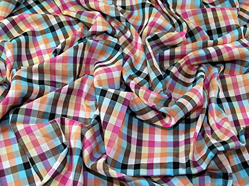 Woven Check Cotton Lawn Dress Fabric Pink Multi - per metre