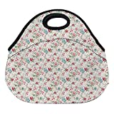 DKISEE Watercolor Tropical 03 Large & Thick Neoprene Lunch Bags Insulated Lunch Tote