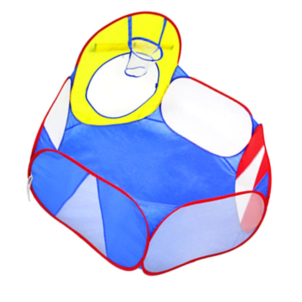 MagiDeal Tragbare Bä llebad Ballpool Kugelbad Bä llchenbad Bä llchenpool Ohne Bä llen mit Mini Basketballkorb Kinder Spielzeug - Pink + Lila