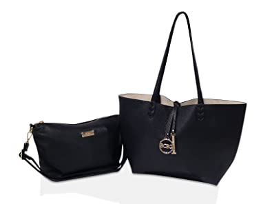 31c0956bd6b5 BCBG PARIS Handbag Convertible reversible Bag Black/Off White,Stylish Bag,  Regular Size, 2014/2015 Collection[Apparel],Available on different Colors