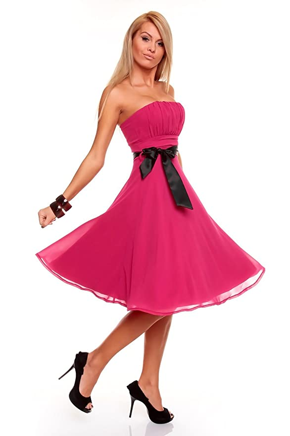 d6f56664e192 Knielanges Bandeau Kleid Chiffon Ballkleid Abendkleid Cocktailkleid  Festkleid XS bis XXL XL (40) Pink  Amazon.de  Bekleidung