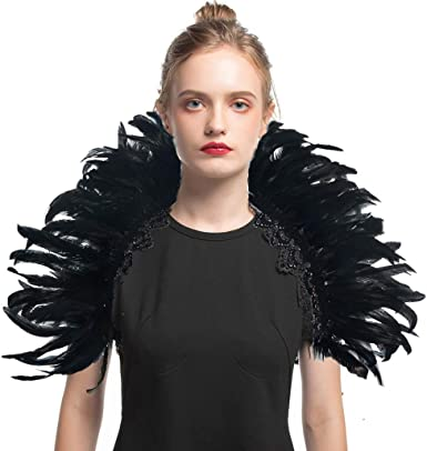LVOW Victorian Natural Feather Poncho Capelet Shrug Wrap Lace Collar Shoulde Halloween Maleficent Shawl Costumes