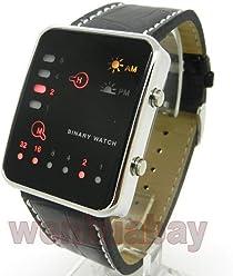 LNTGO Red Led Binary Watch Digital Black Leather Fashion Sport Men Women L0506