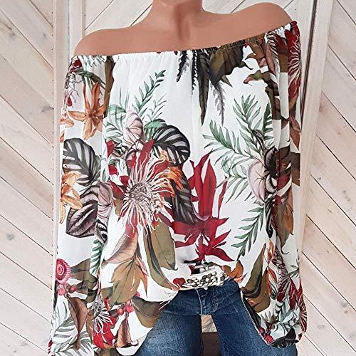 couleur Taille Vert T shirt 10 Longues Femmes Blanc Floral Manches Hauts Cn Luk À Pour Avec Zhrui Et Imprimé F47xS