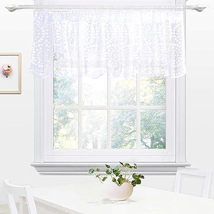 Tenda da cucina ricamata, per sala caffè, da pranzo, protegge dal sole,  mantovane semi velate, White Waterdrop, 45x145cm