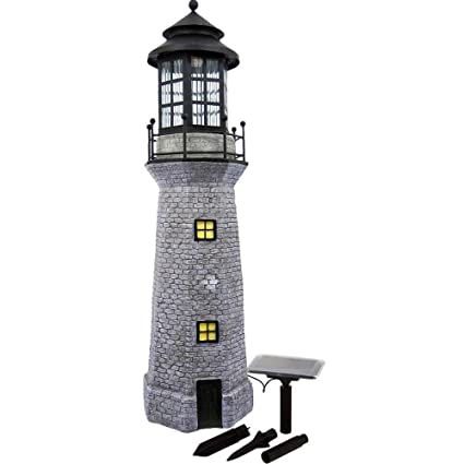 Hongville Large Landscape Spotlights Garden Decor Solar Powered LED  Lighthouse, Gray