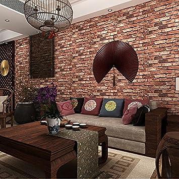 Ketian Tapeten Modern Dreidimensionale Rot Brick Wand PVC Tapete 3D  Texturierte Bricks Für Wohnzimmer/TV