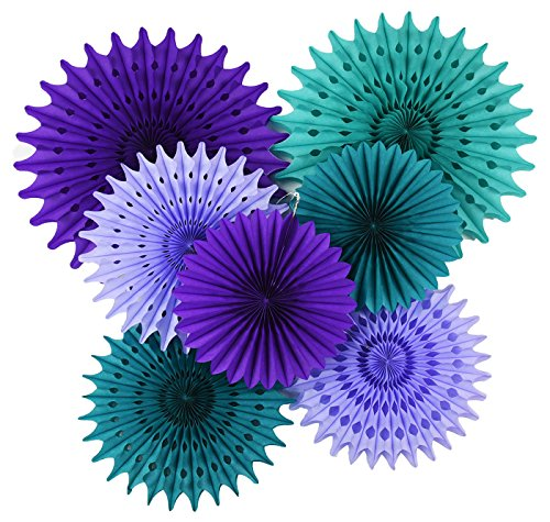 Mermaid Birthday Party Supplies/Under the Sea Party Supplies Teal Purple Lavender Tissue Paper Fan/ Tissue Paper Pom Pom Flower /Mermaid Party Decorations Baby Shower Back (Purple And Teal Baby Shower Decorations)