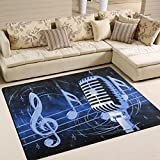 Naanle Music Musical Area Rug 5'x7′, Microphone with Music Notes Polyester Area Rug Mat for Living Dining Dorm Room Bedroom Home Decorative For Sale