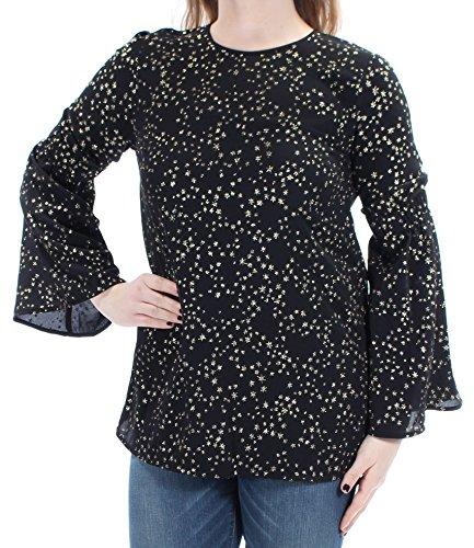 Michael Kors Womens Star-Print Bell-Sleeve Blouse Black M