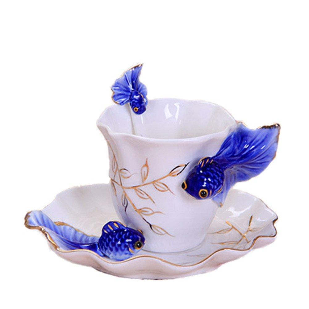 ZaH 3D Goldfish Coffee Mugs Animal Rainbow Ceramic Mug Milk Teacup Afternoon Tea Cup and Saucer Set with Spoon, Dark Blue