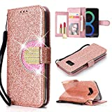UEEBAI Wallet Flip Case for Galaxy S7 Edge,Glitter PU Leather Cover with Mirror [Diamond Buckle] [Card Slots] [Magnetic Clasp] Stand Function Gems Soft TPU Case for Samsung Galaxy S7 Edge -Rose Gold#2