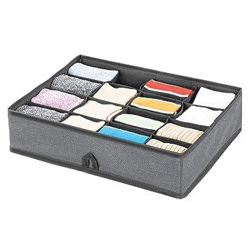 mDesign Organizador de cajones – Cajas organizadoras con 16 compartimentos para el almacenaje de ropa – Separador de cajones para calcetines, ropa ...