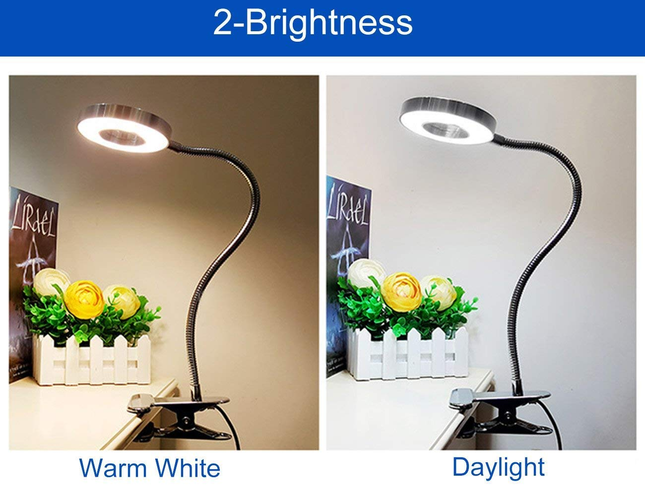 6W LED USB Dimmable Clip on Reading Light,Clip Laptop Lamp for Book,Piano,Bed Headboard,Desk,Eye-care 2 Light Color Switchable, Adapter Included(Black) by W-LITE (Image #7)
