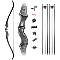 60 Inch Black Hunter Bow Takedown Recurve Bow and Arrow Set Traditional Longbow Draw Weight 25-65lbs Right Left Hand…