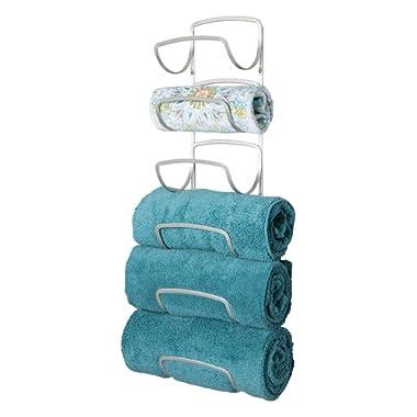 mDesign Modern Decorative Six Level Bathroom Towel Rack Holder & Organizer, Wall Mount - for Storage of Bath Towels, Washcloths, Hand Towels - Satin