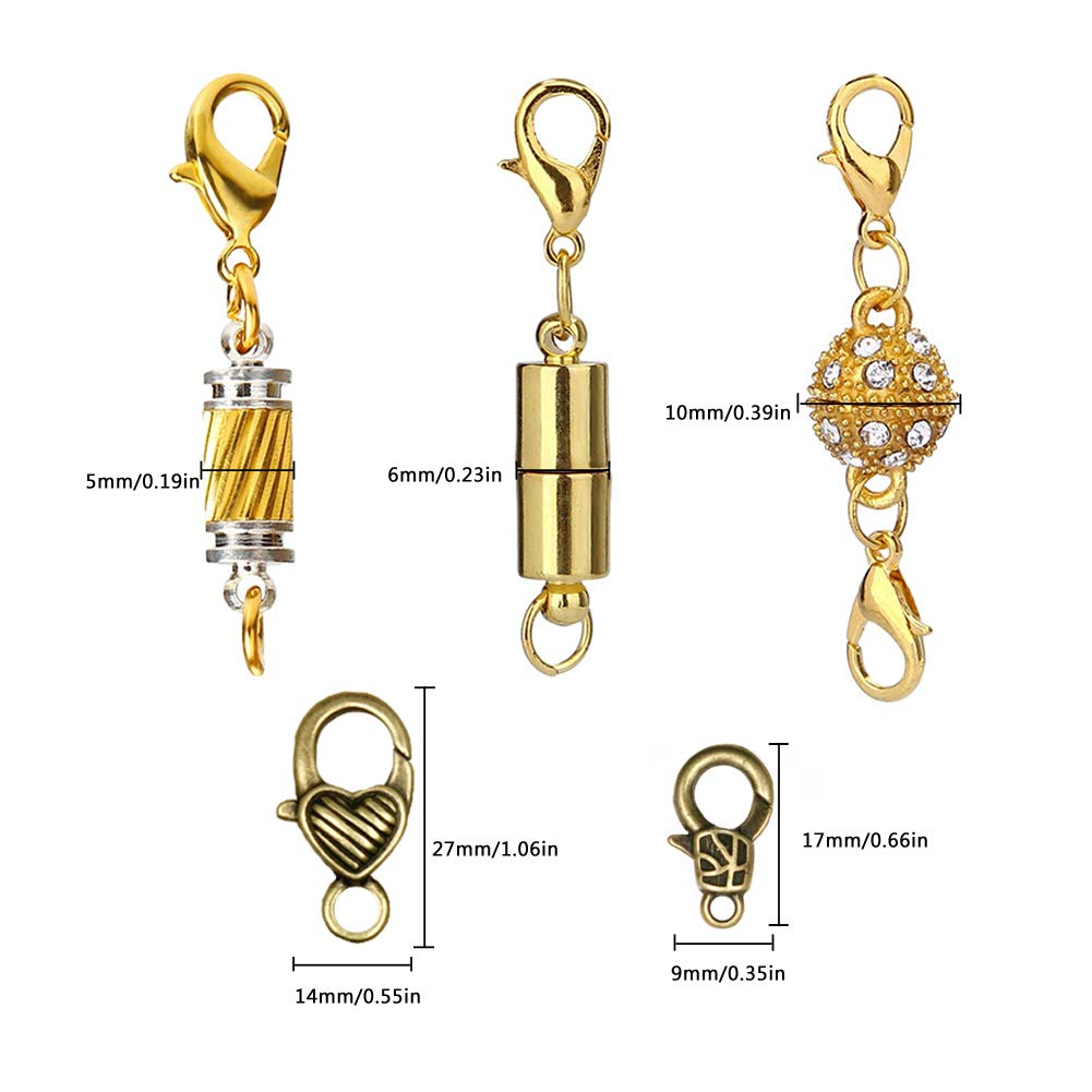 Jewelry Locking Clasps and Closures Bracelet Extender for Necklaces Bracelets and Jewelry Making Gold Silver Magnetic Clasps for Jewellery