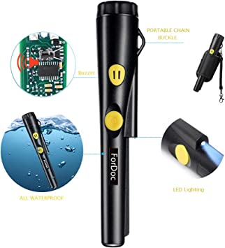 Detector de metales Pinpointer Impermeable Pantalla LCD 12 metros Submarino Port/átil Sonda de 360 /° 3 Modo de alarma para adultos Ni/ños Detectan Oro Plata Bater/ía Negro