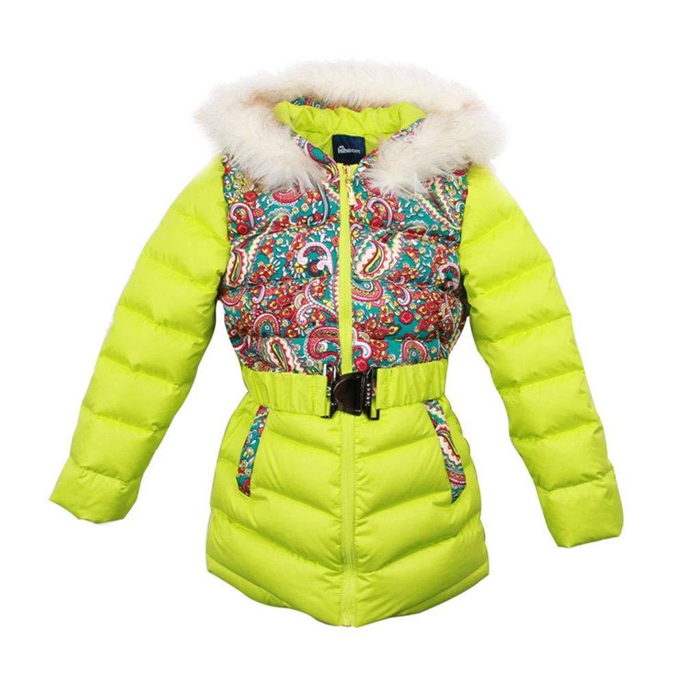 vert 130cm RSTJ-Sjc Veste en Duvet pour Enfants de Style National avec Doudoune et Fourrure