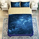 MeMoreCool Galaxy Series Boys and Girls 4-Piece Bedding Set with 2 Matching Pillow Covers Galaxy Quilt Cover Creative Galaxy Space in Classic Design Bedding(Flat sheet, Full)