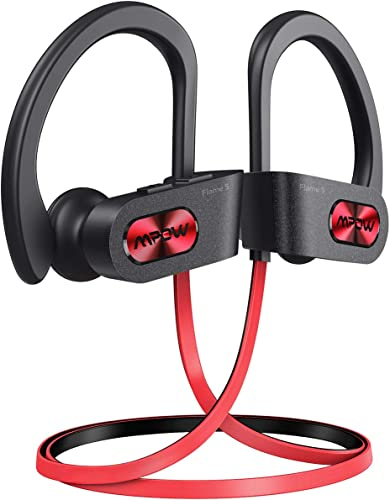 Mpow Flame S Bluetooth Headphones Sports, aptX-HD Bass Loud Sound, Handsfree Call,BT5.0,12H Playtime, IPX7 Waterproof, CVC 8.0 Noise Cancelling Mic,W Carrying Case, for iPhone Android Windows, Red