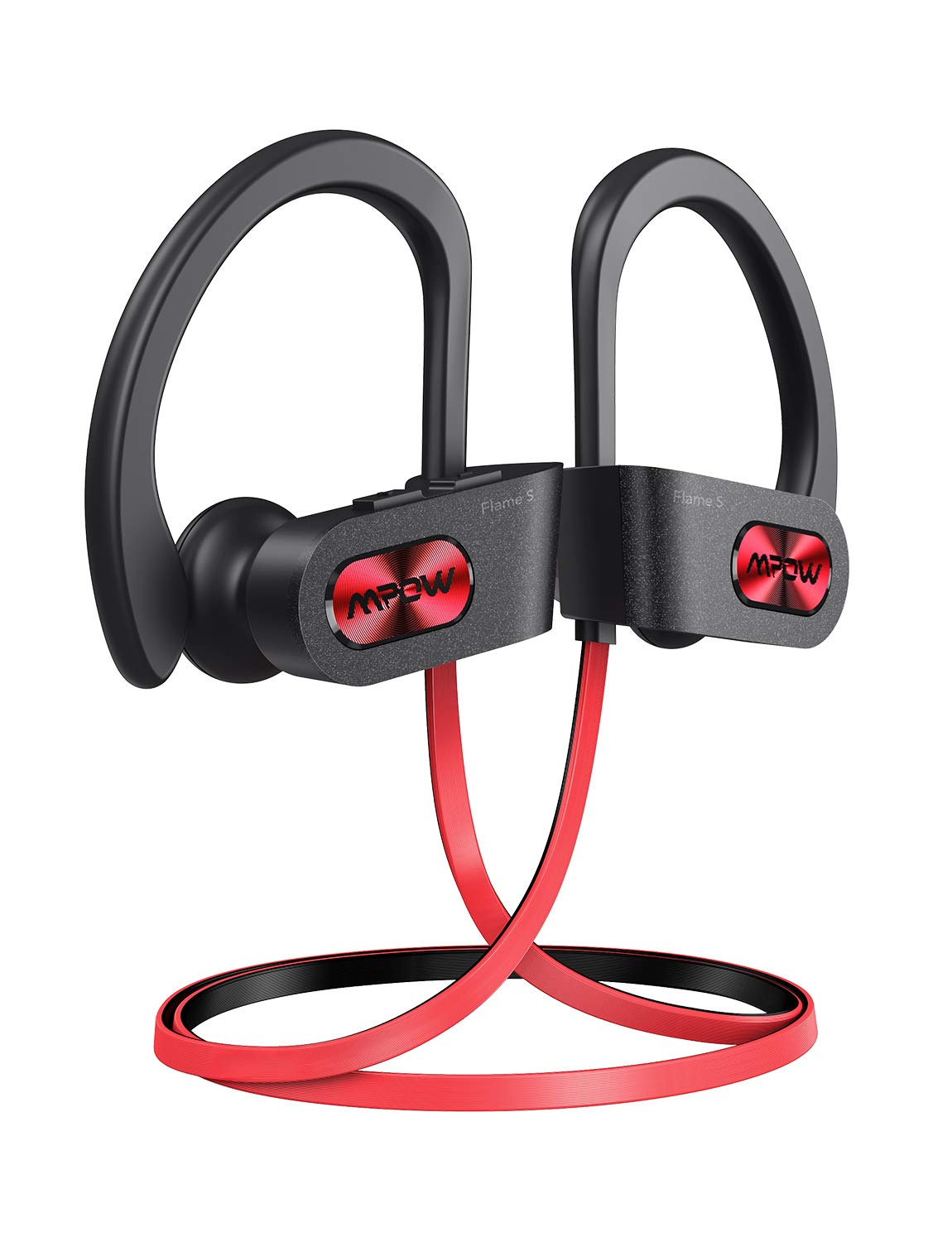 Mpow Flame S Wireless Headphones, Pro version aptX-HD Bass Sound Bluetooth Headphones, Bluetooth 5.0 IPX7 Waterproof Sports headphone, 12H Playtime, CVC 8.0 Noise Cancelling Mic,W Carrying Case, Red